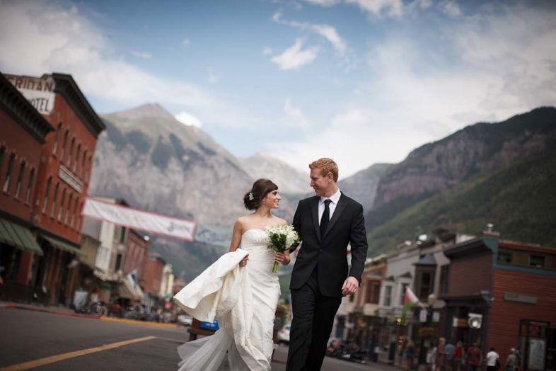 portrait of the bride and groom in downtown telluride
