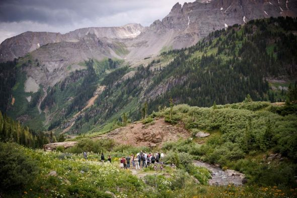 Scenic photograph of the wedding site in Yankee Boy Basin in the mountains of Colorado just outside of Ouray