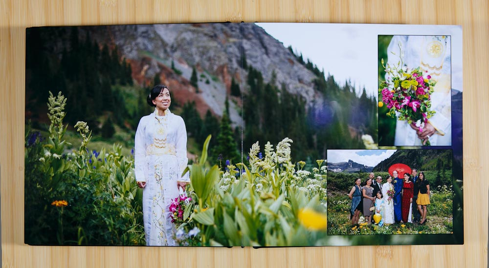 Photos of sample wedding albums from Finao