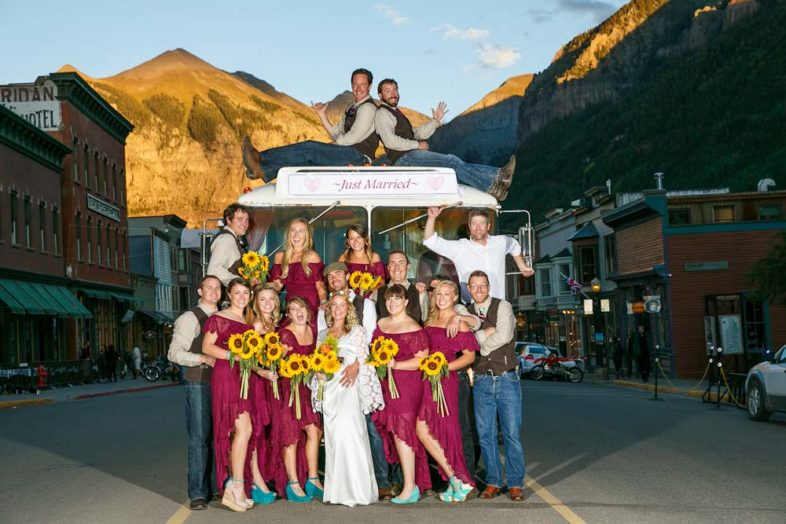 The entire wedding party on Telluride's historic Colorado Ave.