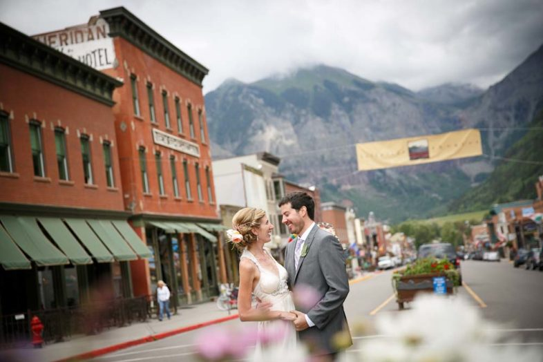 The bride and groom in downtown Telluride