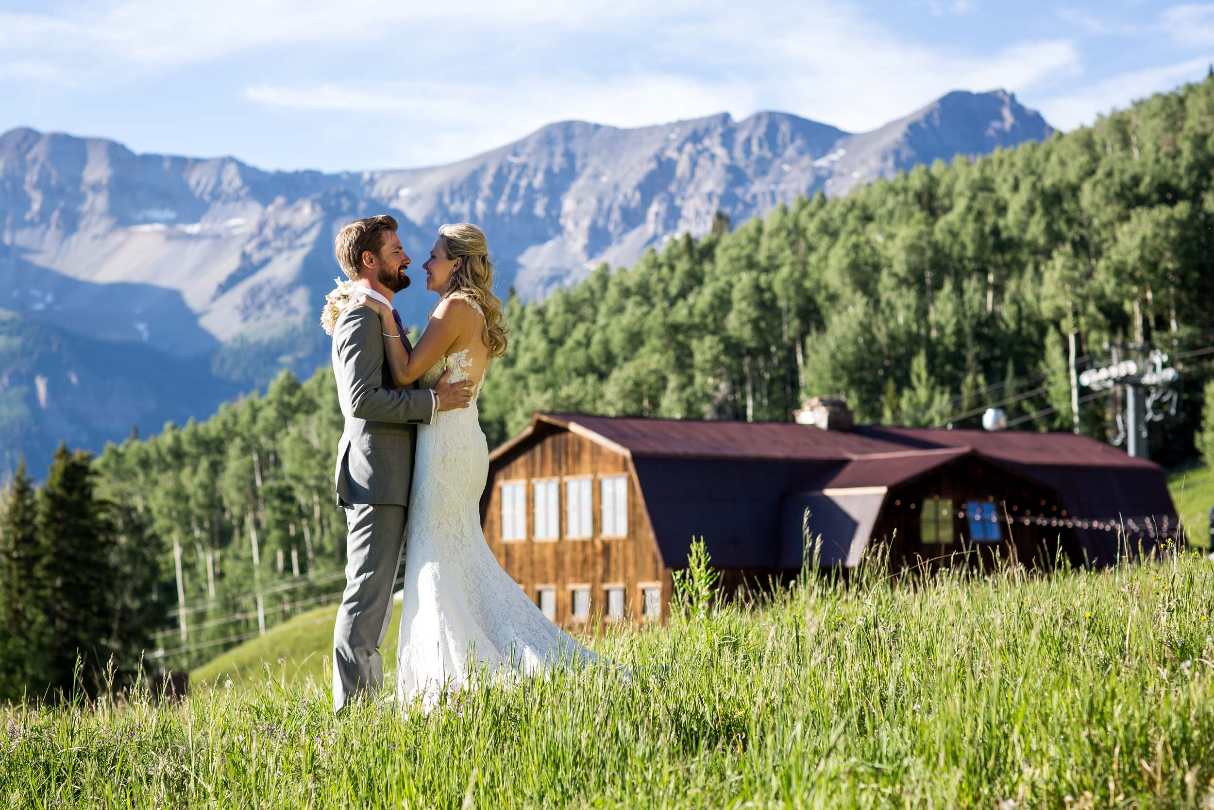 Jon and Danielle's beautiful rustic destination wedding at Gorrono Ranch in the mountains of Telluride, Colorado. Image by Telluride wedding photographer Ben Eng.
