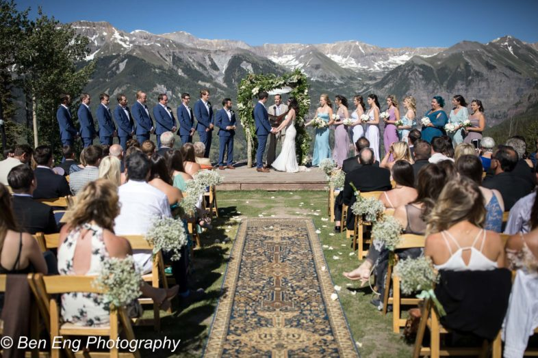 Beautiful rustic mountain wedding at the San Sophia Overlook in Telluride, Colorado.