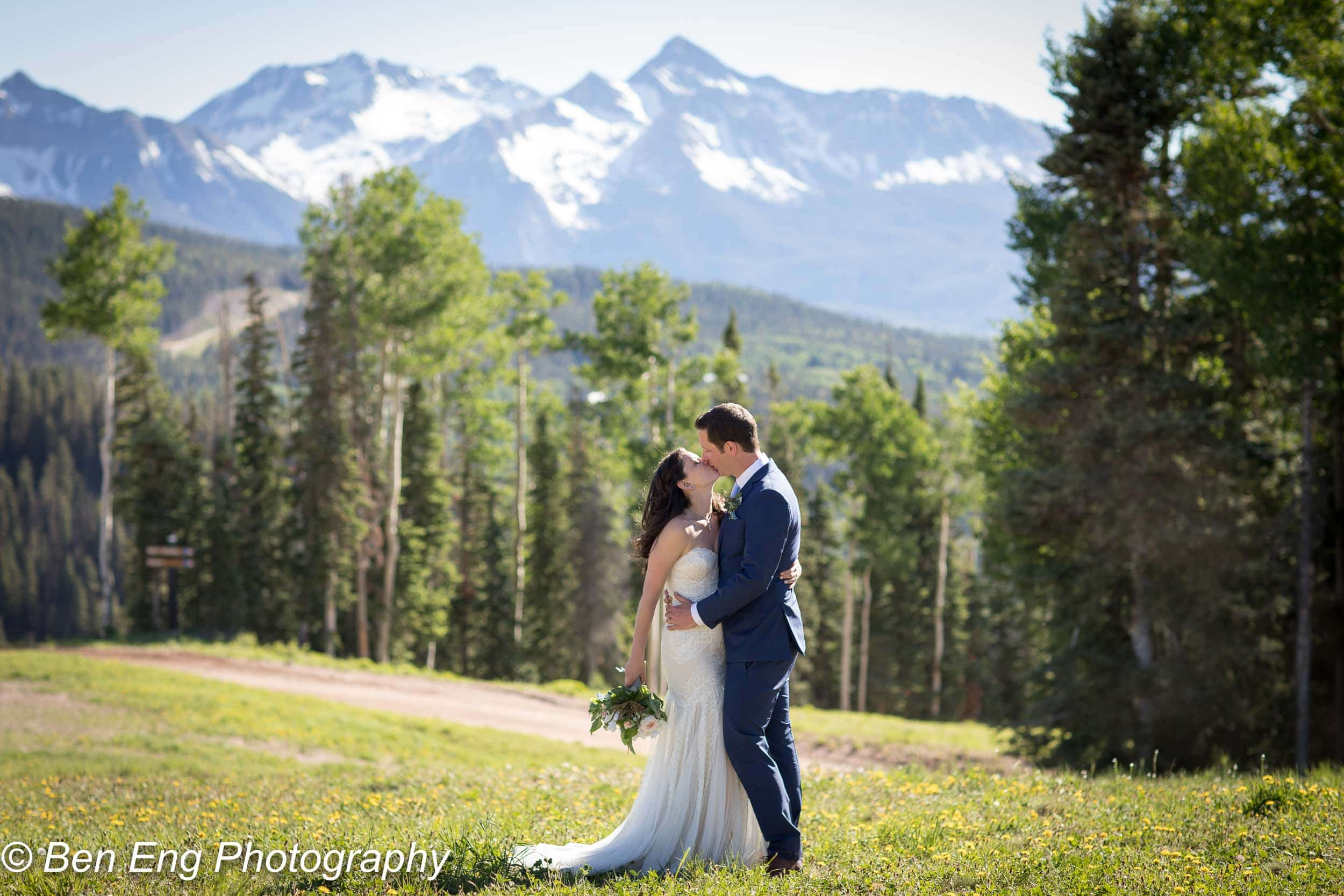 Beautiful rustic mountain wedding at the San Sophia Overlook in Telluride, Colorado.