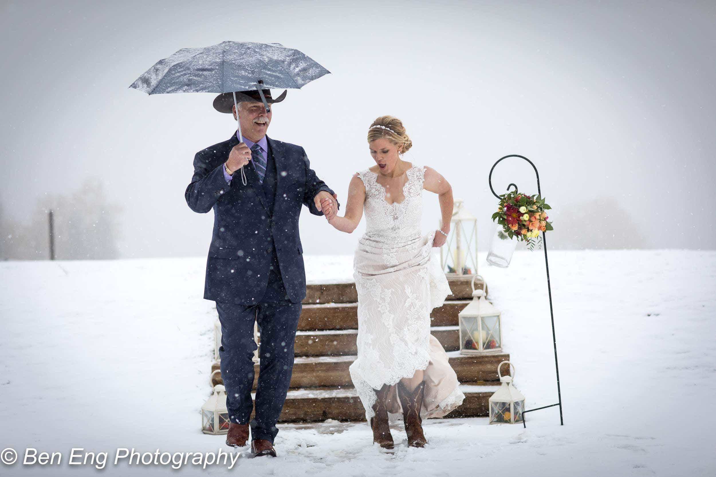 Mike and Kelly's surprise winter wedding at the San Sophia Overlook in Telluride, CO.