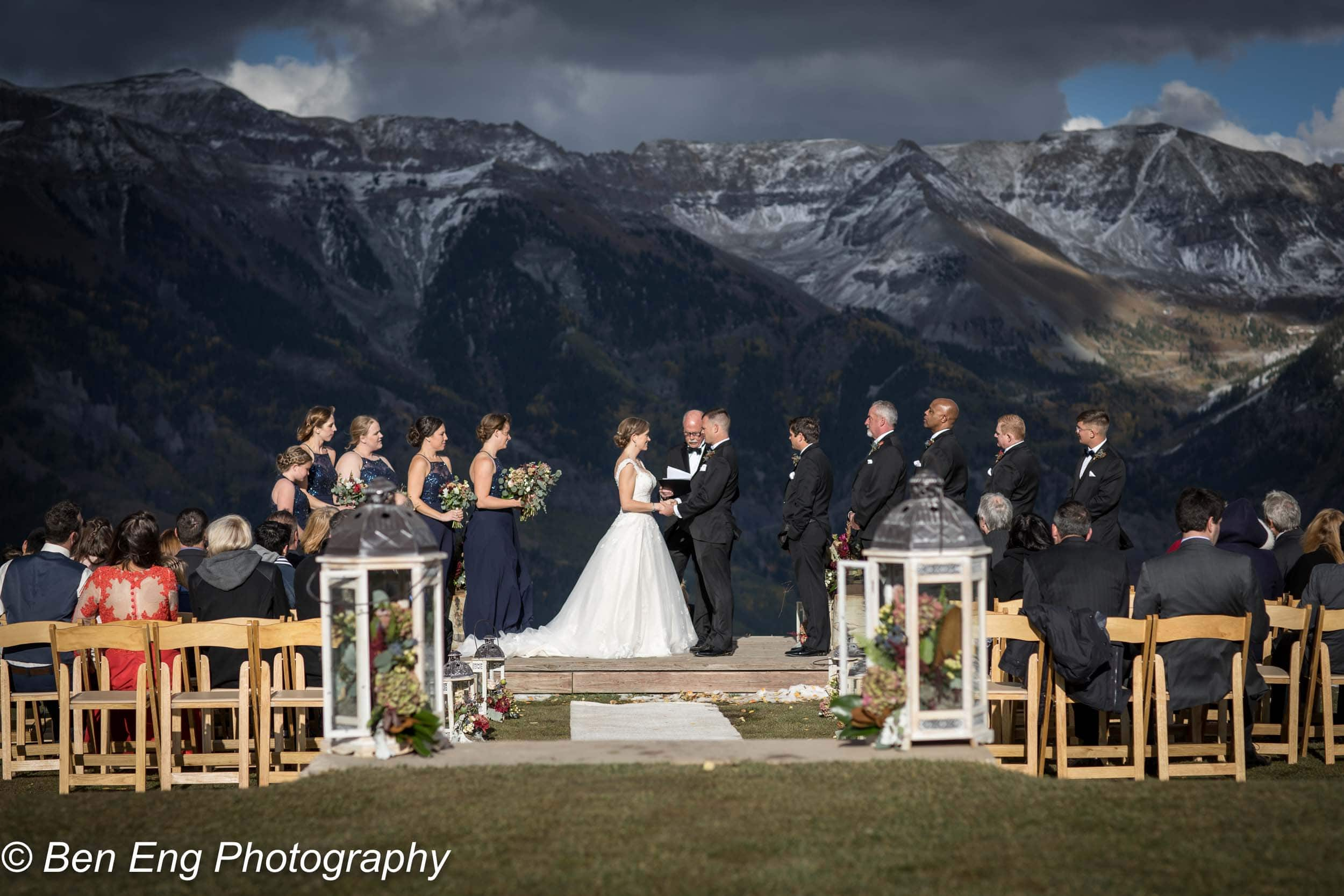 Chris and Lauren wedding at The San Sophia Overlook and Gorrono Ranch in Telluride, CO. Image by Ben Eng. Event design and planning by Telluride Unveiled. Hair by Megan Keever.