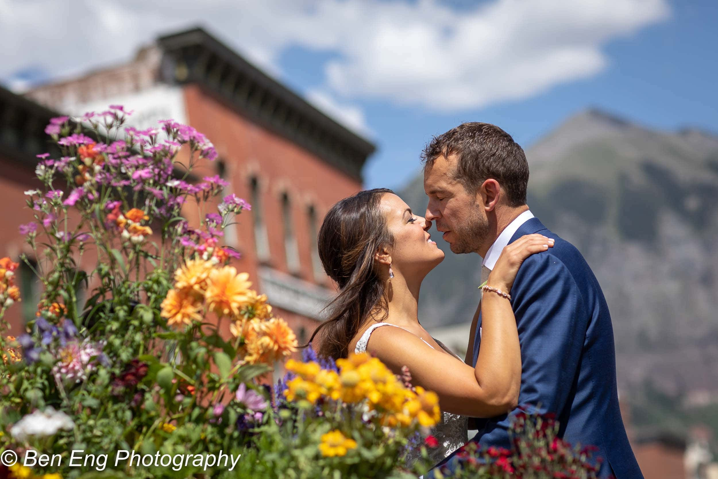 bridal portrait downtown Telluride in front of the New Sheridan Hotel