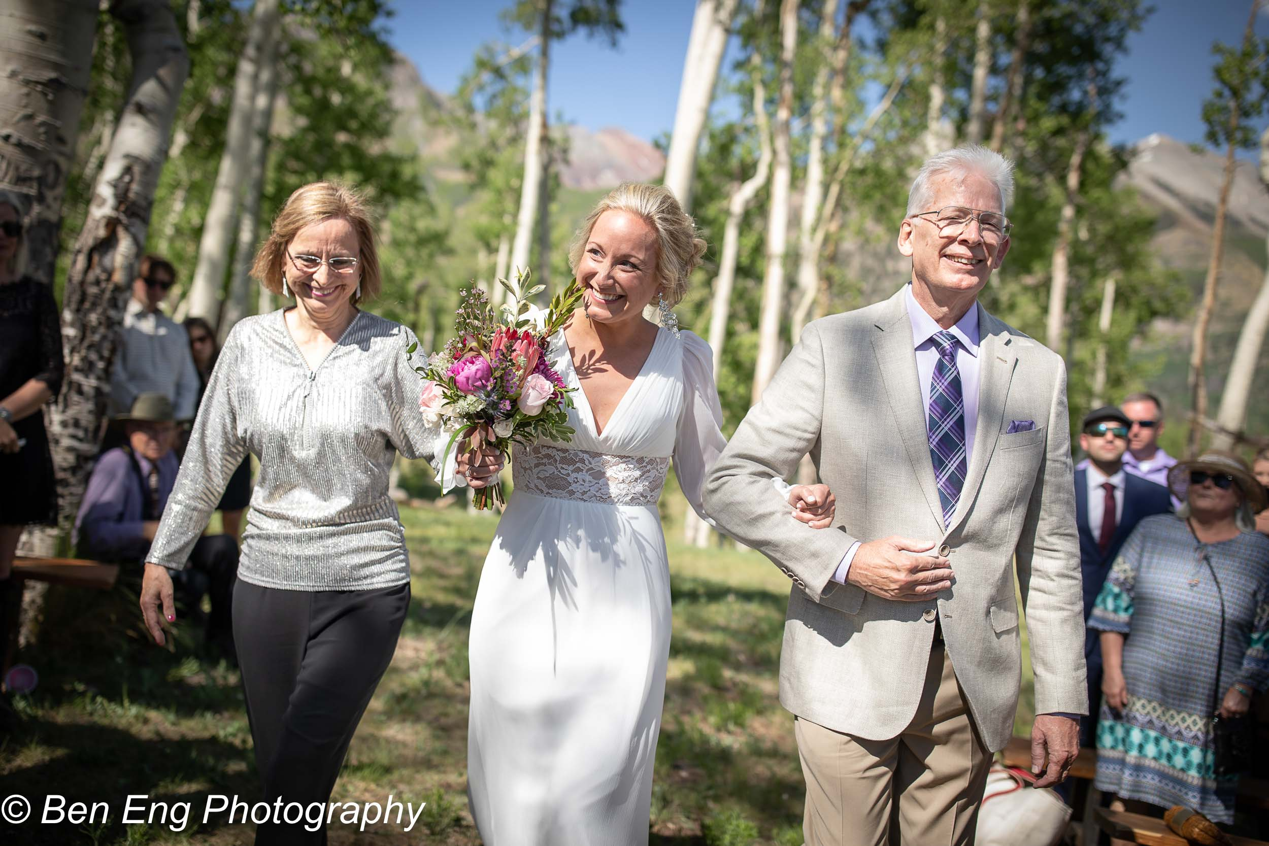 Sneak peek of Heather and Wes's wedding at Telluride Sleighs & Wagons in the mountains of Colorado. Wedding photography by Ben Eng.