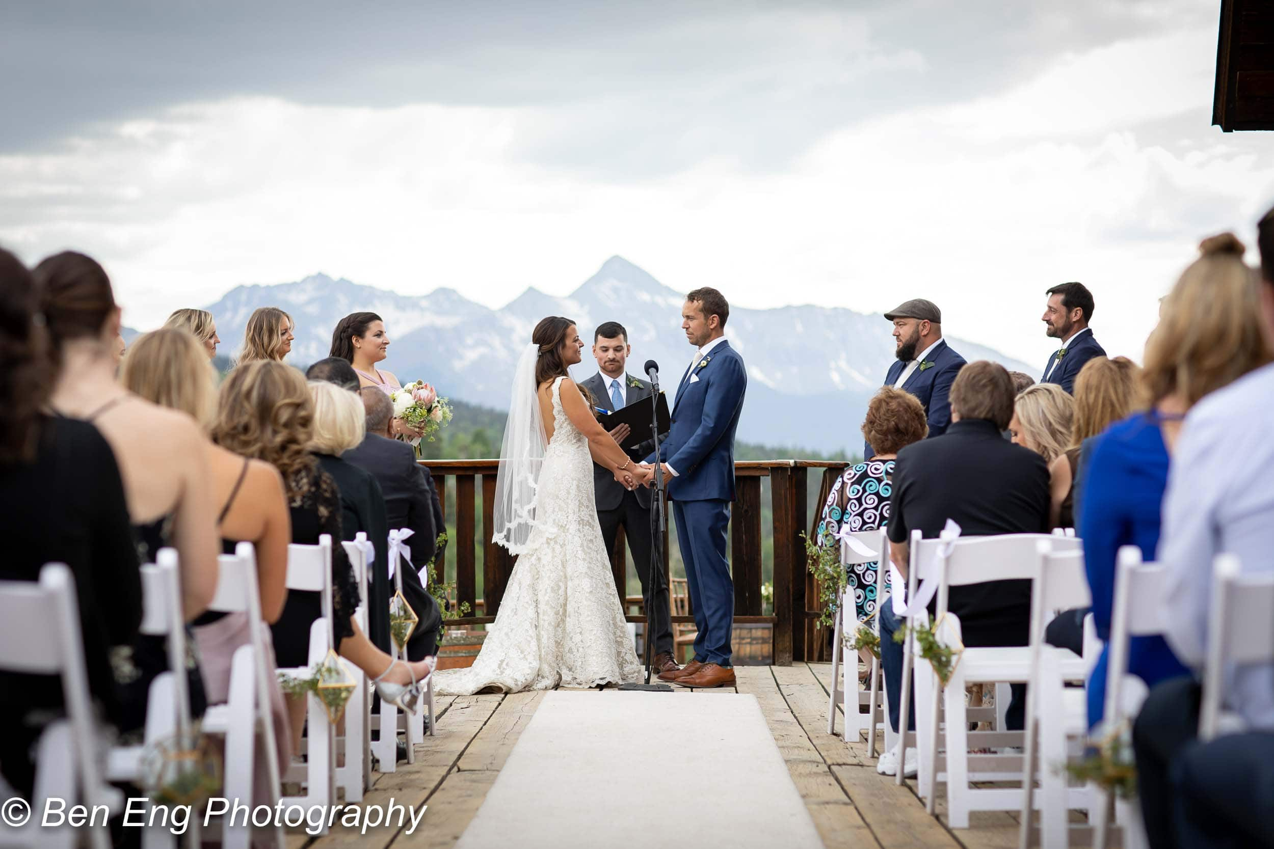 exchanging vows on the Gorrono deck