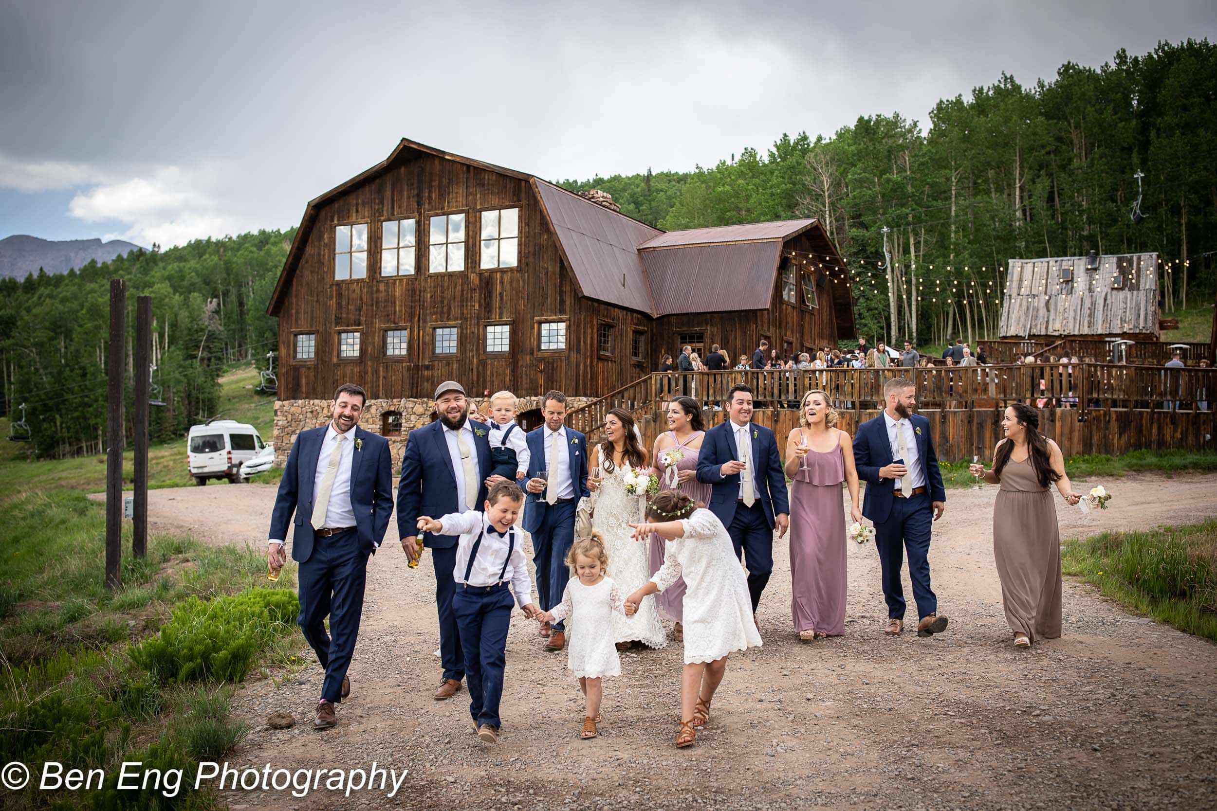 the wedding party in front of Gorrono