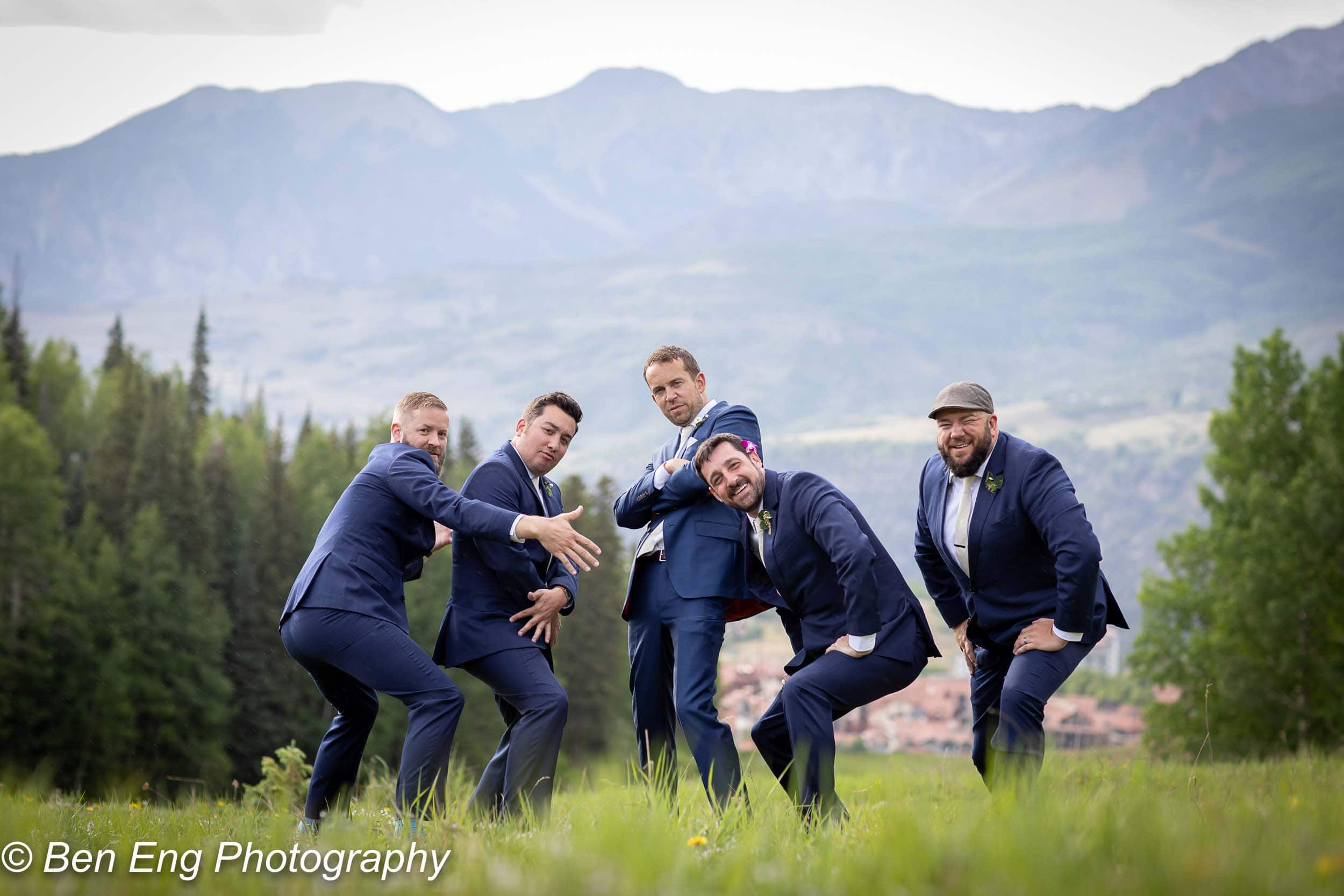 The groomsmen hamming it up