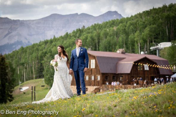 Bride and Groom portrait with Gorrono in the background