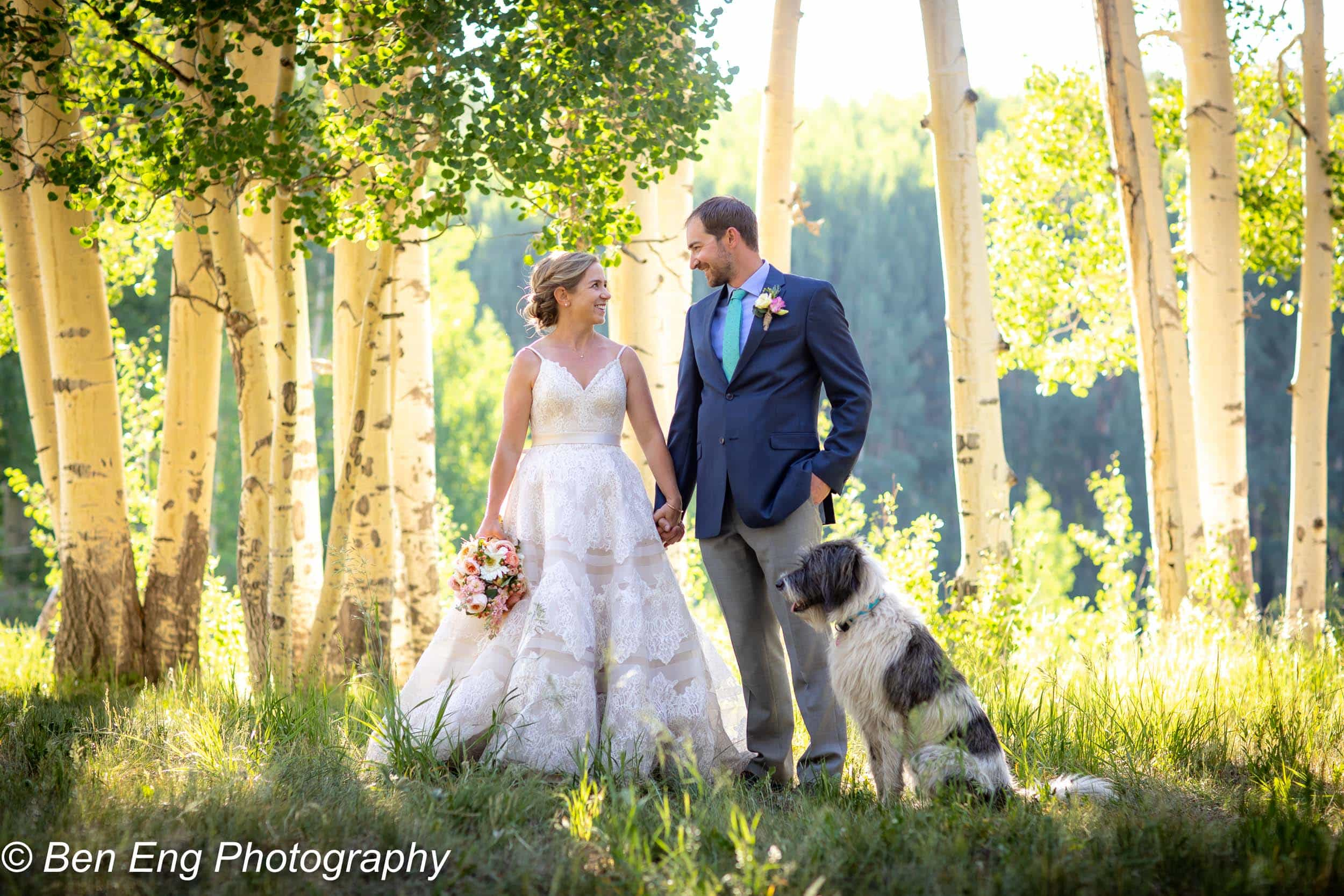 bride and groom (and dog) portrait