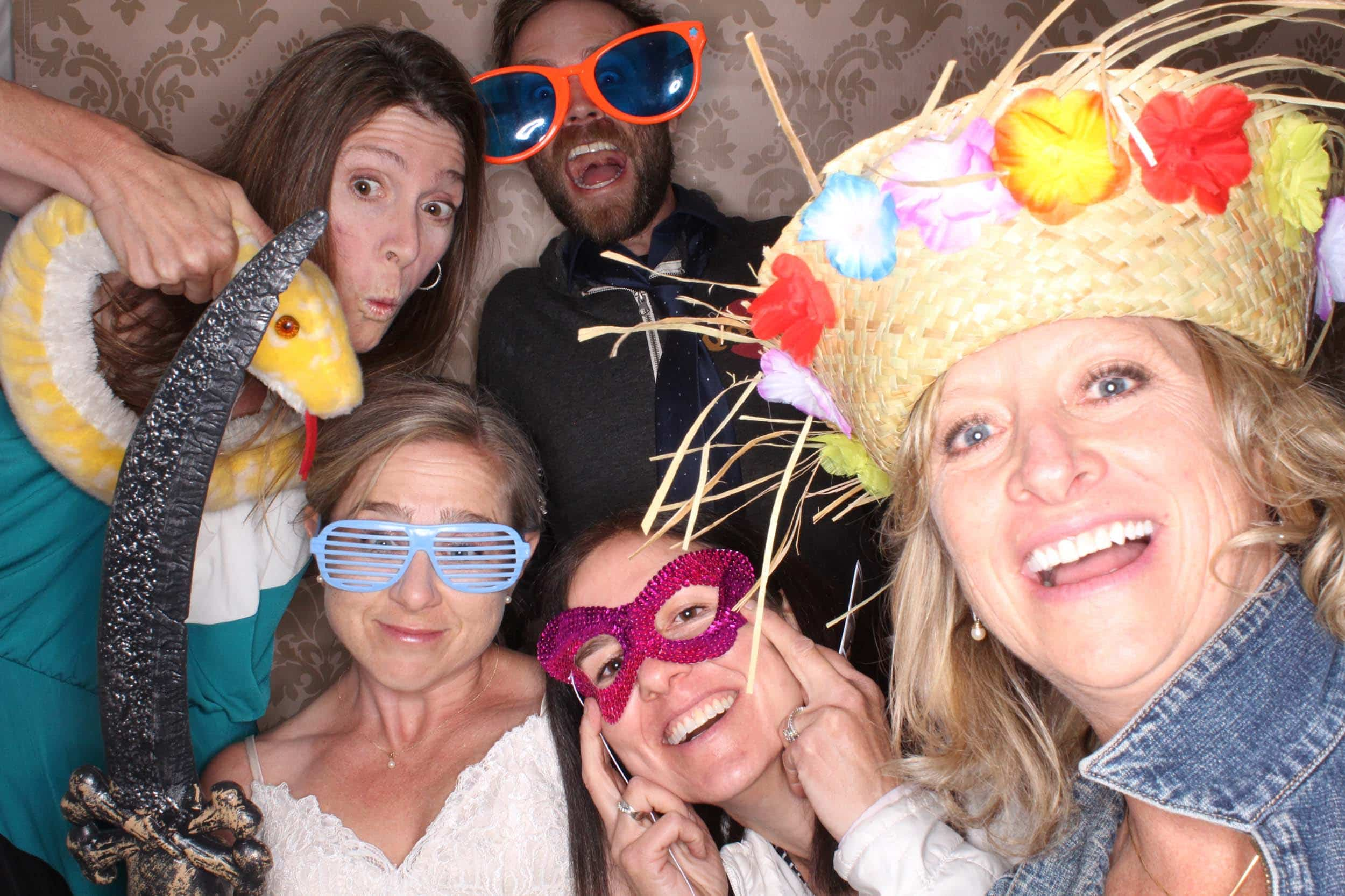 wedding guests using the photo booth