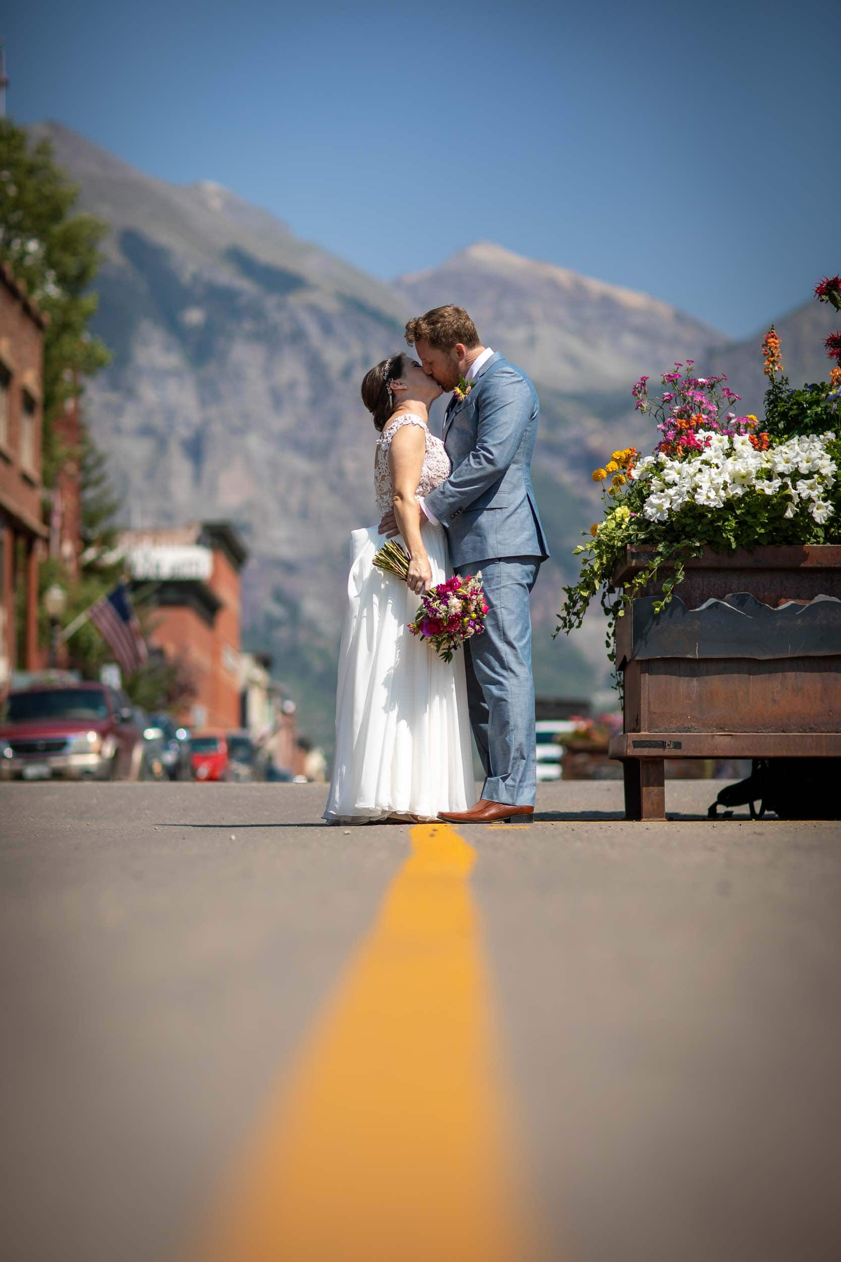 bride and groom portrait downtown Telluride