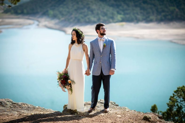 Bride and Groom portrait at Ridgway state park in Colorado