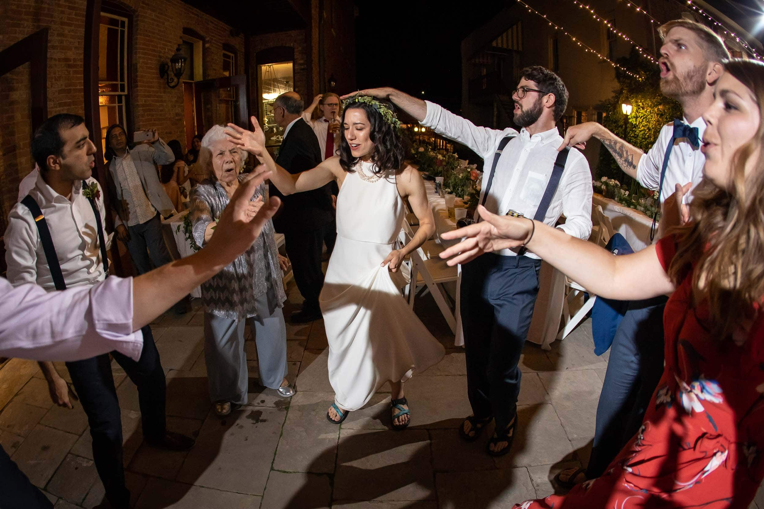 Guests dancing at a wedding reception at the Beaumont Hotel in Ouray, CO
