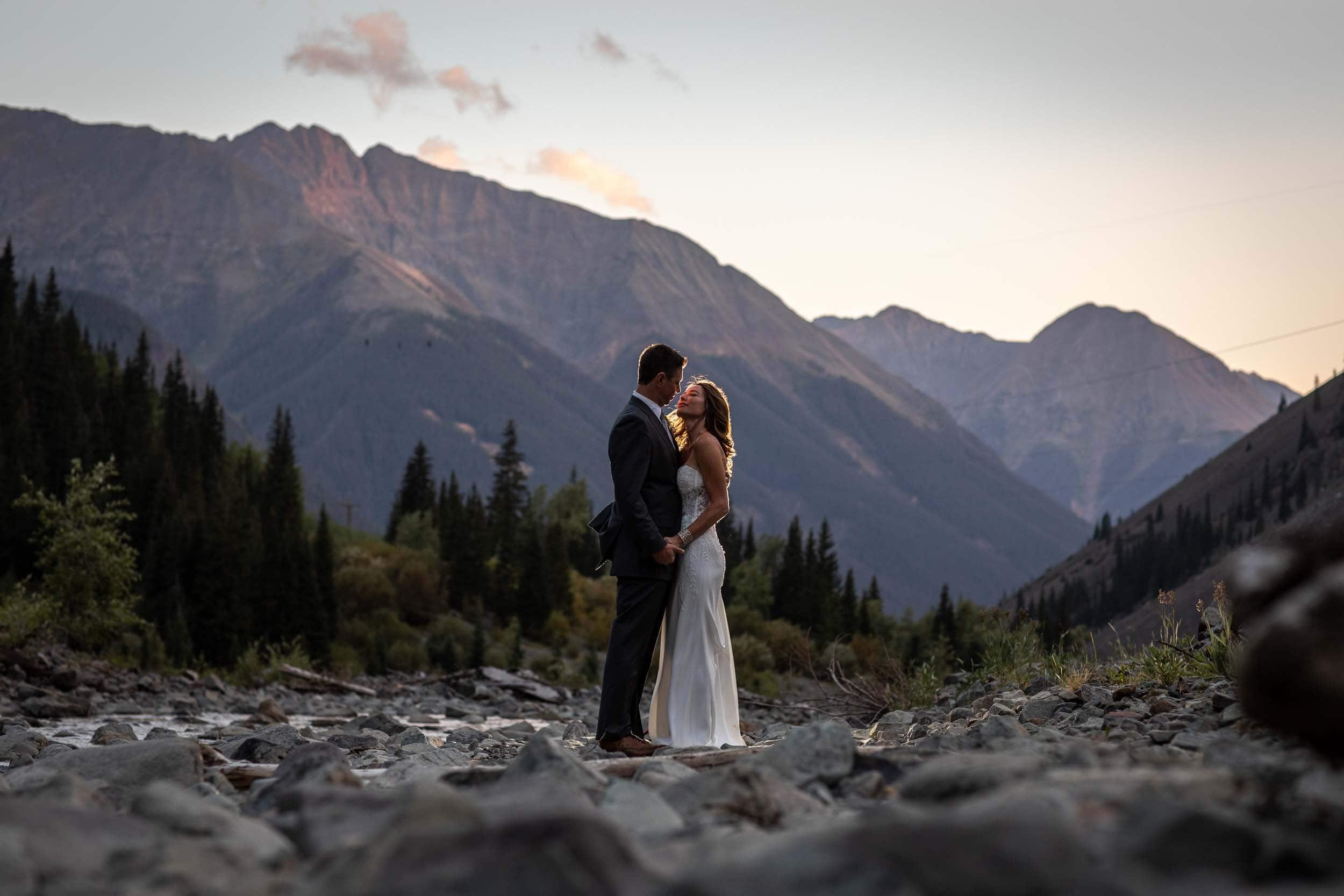 sunset portrait of the newlyweds