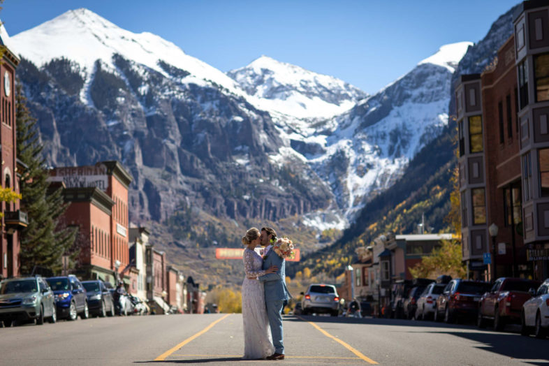 Telluride wedding photographers shooting a wedding at the San Sophia overlook