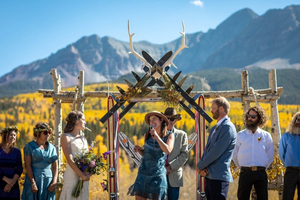 Chris and Fiona's Fall wedding at the Schmid Family Ranch in the mountains of Telluride, Colorado. Image by Telluride wedding photographer Ben Eng. Design by Telluride wedding planners Simplify.