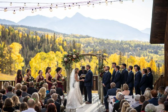 Preview of Scott and Jacki's amazing Fall wedding at Gorrono Ranch in the mountains of Telluride, Colorado. Image by Telluride wedding photographer Ben Eng.