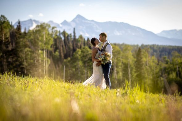 A rustic mountain wedding in Telluride, Colorado, photographed by Telluride photographer Ben Eng with planning and design by Simplify Telluride.