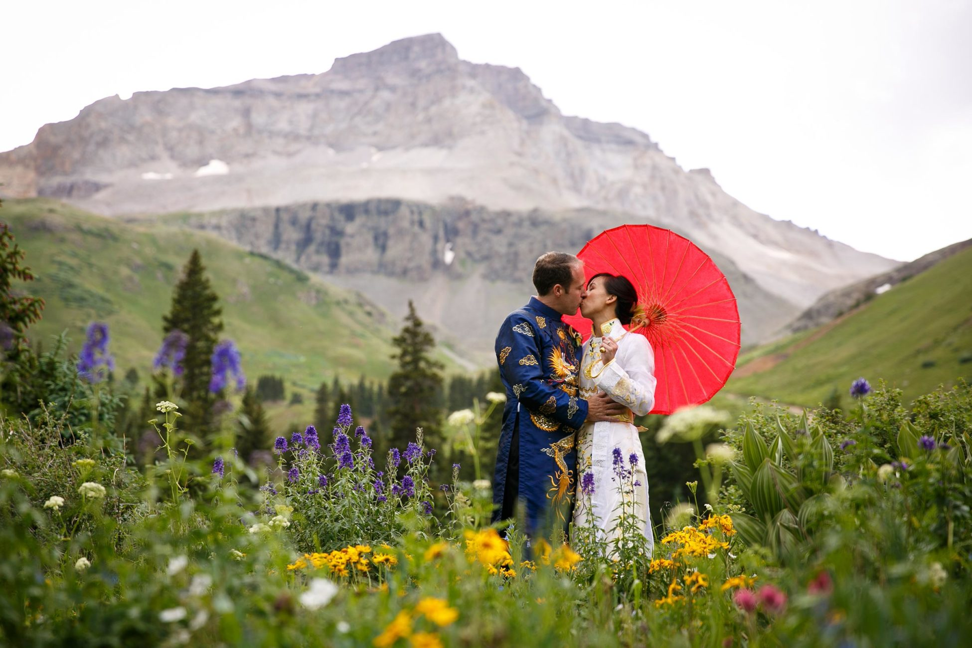 A unique asian-inspired adventure wedding during wildflower season in Ouray by Telluride wedding photographer Ben Eng
