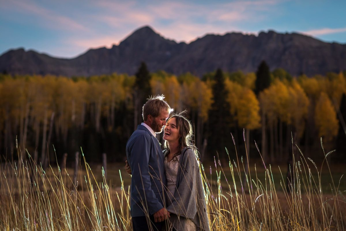 sunset portrait in from of mt Wilson from a wedding at the Schmid Ranch by Telluride wedding photographer Ben Eng
